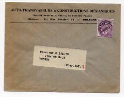 ENVELOPPE COMMERCIALE De ORLEANS (LOIRET) Avec PREOBLITERE N° 62 TYPE BLANC - Storia Postale