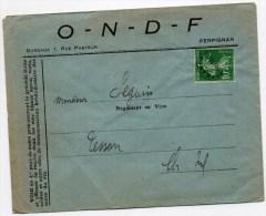 ENVELOPPE COMMERCIALE De PERPIGNAN (PYRENEES ORIENTALES) Avec PREOBLITERE N° 53 SEMEUSE - Storia Postale