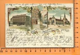 AUGSBURG: Gruss, Litho Multi Vues, Die BörseFugger,  Denkmal, Der Dom,...... - Augsburg
