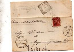 1892  LETTERA CON ANNULLO  OTTAGONALE  CAVATIGOZZI CREMONA + ACQUANEGRA