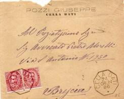 1886  LETTERA CON ANNULLO  OTTAGONALE  CELLA DATI CREMONA