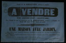 ANJOU ( Maine Et Loire) Affiche Adjudication Maison à CHOLET Quartier De Rambourg Rue Du Collège 1843 - Affiches