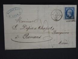 FRANCE -  N° 14 Brd De Feuille Sur Lettre De Lyon Pour Romans - Lot N° 2119 - 1853-1860 Napoleon III