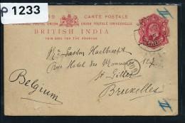 GRANDE BRETAGNE- INDE  ENTIER POSTAL  DE KURSEONG POUR LA BELGIQUE  1910  A VOIR - India (...-1947)