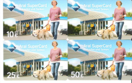 Germany - Allemagne - 4 Cards - Aral Petrol Station - Carte Cadeau - Carta Regalo - Gift Card - Geschenkkarte Dog Hund - Frankreich