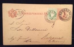 FRIULI -AUSTRIA Destinazioni ITALIA  - INTERO POSTALE 2kr + 3  DA NEUBAU A BOLOGNA - 1881 - 1861-78 Vittorio Emanuele II