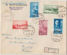24253 Painter Grigorescu Anniversary 1938 Set On R-cover To Ixelles, Belgium - GF - 1918-1948 Ferdinand I., Charles II & Michel