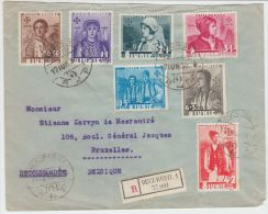 24250 Accession 6. Anniversary Folk Costumes 1936 Set On R-cover To Ixelles, Belgium - GF - 1918-1948 Ferdinand I., Charles II & Michel