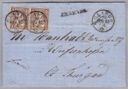 Heimat GL ENNENDA Langstempel 1865-08-19 Glarus Faltbrief Nach Diessenhofen - 1862-1881 Helvetia Seduta (dentellati)