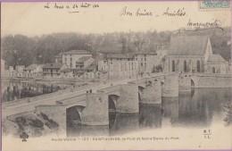 87  ��  Saint-Junien   :-   Le  pont  avec  au  bout  ...  Notre-Dame  du  Pont   *   �crite  :  24 - 08 - 1904