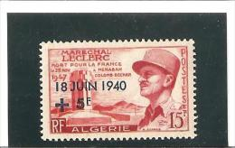 17e ANNIVERSAIRE DE L'APPEL DU GENERAL DE GAULLE Type Tt Maréchal Leclerc Surcharge Bleue  N° 345 * - Unused Stamps