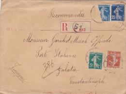 13521# SEMEUSE / LETTRE RECOMMANDEE Obl PARIS 1911 Pour POSTE ITALIENNE GALATA CONSTANTINOPLE TURQUIE CONSTANTTINOPOLI - Marcophilie (Lettres)