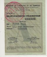 RATIONNEMENT-  Castres -  Billet D'achat De Vélomoteur - 1949- - Verkehr & Transport