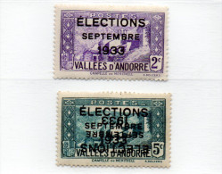 B -  Andorra Fr.-  Elezioni 1933 (nuovi Senza Gomma) Il Val. Da 5 C. Ha Doppia Sovrastampa Di Cui 1 Capovolta - Andorre Français