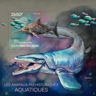 Central African Republic. 2014 Prehistoric Water Animals. (614b) - Briefmarken