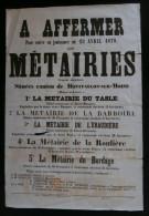 ANJOU ( Maine Et Loire ) Affiche Affermage Métairies MONTFAUCON Sur MOINE SAINT-GERMAIN  SAINT-MACAIRE En MAUGES 1879 - Affiches