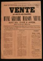 ANJOU ( Maine Et Loire ) Affiche Vente Grande Maison Neuve Bourg De ROUSSAY 1866 - Affiches