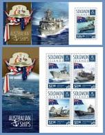 slm14601ab Solomon Is. 2014 Flag Australian ships 2 s/s Kangaroo