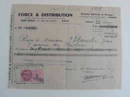 Reçu De 1945 :Force Et Distribution ,Limoges - Electricité & Gaz