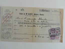 Reçu De 1944 : Etude De Maître  Albert ,Notaire à Nantes - France