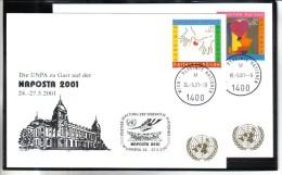 WIT404 UNO WIEN 2001  MICHL 331/32  Auf 2 STÜCK WEISSE KARTEN - White Cards - Wien - Internationales Zentrum