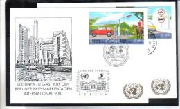 WIT406 UNO WIEN 2001  MICHL 346/49  Auf 2 STÜCK WEISSE KARTEN - White Cards - Wien - Internationales Zentrum