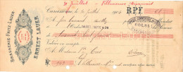 Lettre Change 10/7/1904 Brasserie Fritz Lauer ERNEST LAUER Bières CARCASSONNE Aude Pour Villeneuve Minervois - Lettres De Change