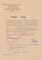 SOCIALISTS TEACHERS GENERAL ASSEMBLY INVITATION, SOCIAL DEMOCRATIC PARTY, 1946, , ROMANIA - Documents Historiques
