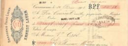 Lettre Change 10/2/1908 Brasserie Fritz Lauer ERNEST LAUER Bières CARCASSONNE Aude Pour Villeneuve Minervois - Wechsel