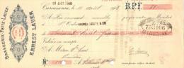 Lettre Change 10/8/1908 Brasserie Fritz Lauer ERNEST LAUER Bières CARCASSONNE Aude Pour Villeneuve Minervois - Cambiali