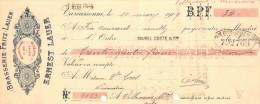 Lettre Change 10/3/1909 Brasserie Fritz Lauer ERNEST LAUER Bières CARCASSONNE Aude Pour Villeneuve Minervois - Wechsel