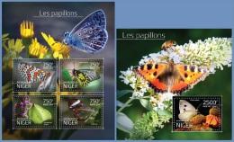 nig14513ab Niger 2014 Butterflies 2 s/s
