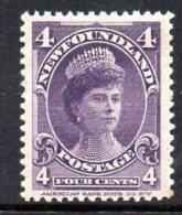 Newfoundland Canada 1897-1918 4c Queen Mary, Hinged Mint - Newfoundland