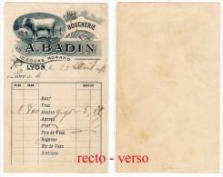 Bon De Livraison De La : Boucherie A. Badin, 10, Cours Morand, Lyon ( Vache, Boeuf, Mouton ) - Alimentaire