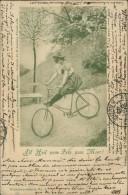 """CYCLISME / VELO - """"All Heil Vom Fels Zum Meer"""" -Femme Sur Une Bicyclette Dans Un Jardin Public Au Printemps Avec Un Ange - Cyclisme"""