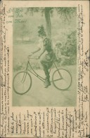 """CYCLISME / VELO - """"All Heil Vom Fels Zum Meer"""" -Femme Sur Une Bicyclette Dans Un Jardin Public Avec Un Ange - Cyclisme"""