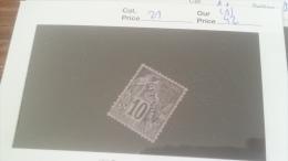 LOT 241965 TIMBRE DE COLONIE REUNION NEUF(*)  N�21 VALEUR 42 EUROS