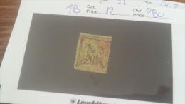 LOT 241969 TIMBRE DE COLONIE DIEGO SUAREZ OBLITERE N�12 VALEUR 80 EUROS