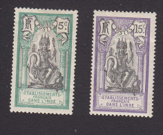French India, Scott #30, 34, Mint Hinged, Brahma, Issued 1914 - India (1892-1954)