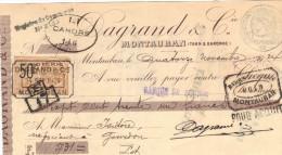 Lettre Change 14/11/1924 DAGRAND Minoterie MONTAUBAN Tarn Et Garonne Pour Gourdon Lot Timbre Fiscal - Lettres De Change