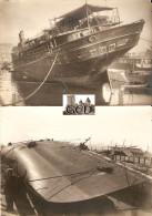 """Lot De 2 Photographies Anciennes, Paquebot """"Dumbéa"""" Chaviré à Marseille, Photos Léon Mouret En Octobre 1919 + Tampons - Boats"""