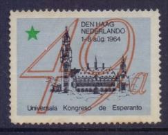 Nederland : Vignette / Cinderella–Zonder Gom/ Sans Gomme/ Without Gumni : ## ... : Universala Kongresso De ESPERANTO ## - Esperanto