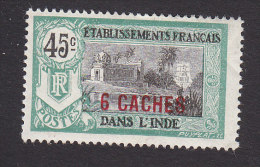 French India, Scott #59, Mint Hinged, Kali Temple Surcharged, Issued 1923 - India (1892-1954)