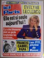 COLLECTIONNEZ LES AFFICHES PRESSE PUBLICITE ICI PARIS 57X75cm EVELYNE LECLERCQ FRANCIS CABREL PAPA LES PREMIERES PHOTOS