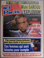 COLLECTIONNEZ LES AFFICHES PRESSE PUBLICITE ICI PARIS 57X75cm MICHEL SARDOU L�EXPLOSION FEMMES BAFOUEES MAL PAYEES...