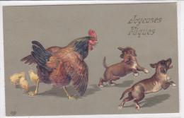 CARD IN RILIEVO CANE BASSOTTO - BASSET SAUS-SAGE DOG   GALLINA PULCINI BUONA PASQUA   FP-N-2 -0882 22764 - Chiens