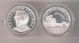 B) ITALIA LIRE 1000 GAETANO DONIZETTI DARGENTO DEL 1997 PROOF FONDO SPECCHIO PROVENIETE DALLA SERIE DIVISIONALE - 1 000 Lire