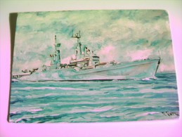 VITTORIO VENETO   PITTORE  CIGNOZZI   PEINTURE   NAVE   SHIP   MARINA  MILITARE  WARSHIP  NON  VIAGGIATA COME DA FOTO - Guerra