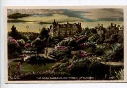 OF2/  Beautifully Hand Coloured Real Photo Pc The Rock Gardens Southsea At Sunset, Publ. Milis Portsmouth - Portsmouth