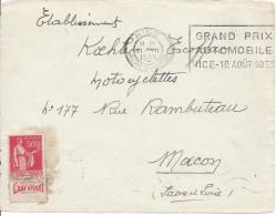 NICE ALPES MARITIMES 1935 GRAND PRIX AUTOMOBILE AOUT 1935 Timbre 50c PAIX Devant Seul - Marcophilie (Lettres)